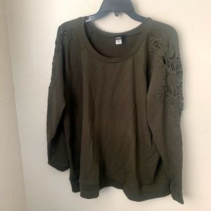 Torrid Sweater Brown Embroidered Sleeve Crew Neck
